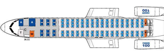 схема расположения салона в фоккер-100 (казахстан)