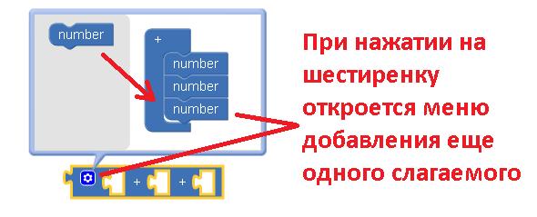 добавление еще одного элемента к блоку сложения в апп инвентор