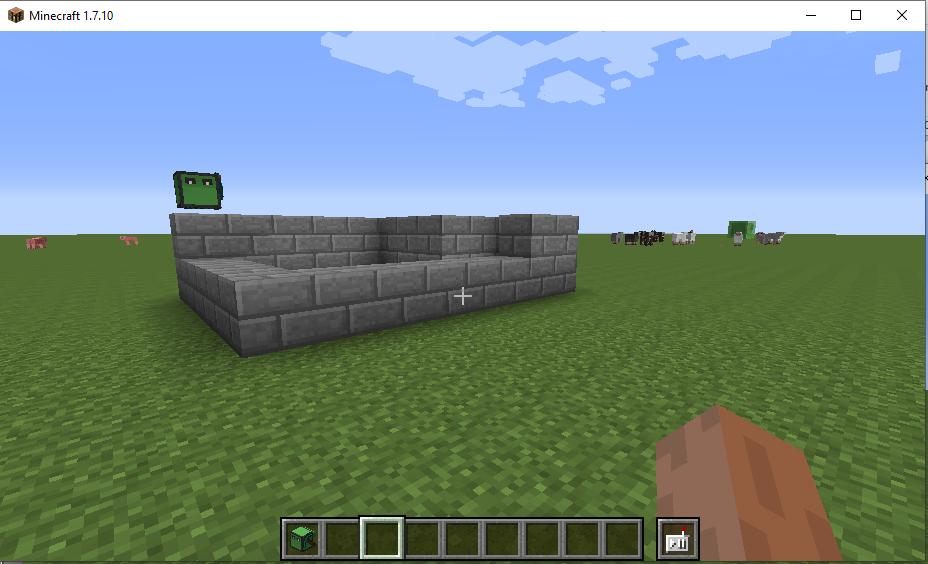 Выполнение цикла второго повторения - второй слой каменных кирпичей в Майнкрафт